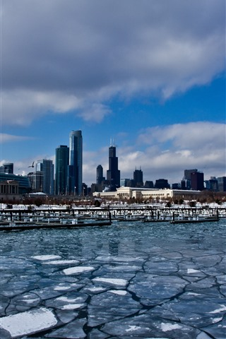 iPhone Wallpaper Chicago, city, skyscrapers, snow, ice, winter, river
