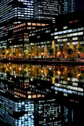 iPhone Wallpaper City, night, buildings, lights, river, water reflection