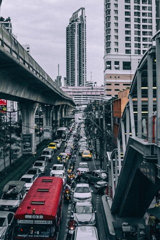 iPhone Wallpaper City, road, cars, buildings