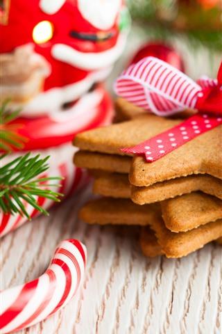 iPhone Wallpaper Cookies, candy, berries, Christmas
