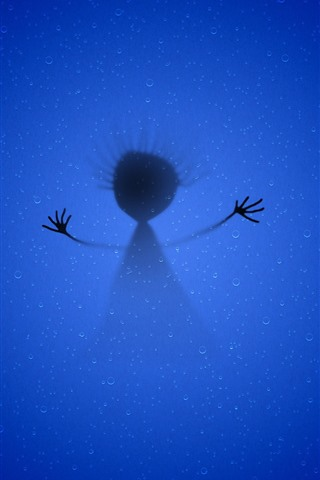 iPhone Wallpaper Creative picture, child, shadow, blue background
