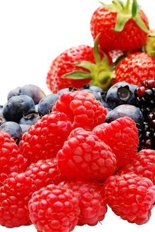iPhone Wallpaper Delicious berries, raspberry, blackberry, strawberry, blueberry