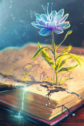 iPhone Wallpaper Flower, book, pen, creative design