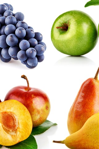 iPhone Wallpaper Four kinds of fruit, grapes, apples, plums, pears