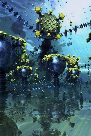 iPhone Papéis de Parede Fractal, imagem abstrata, bolas