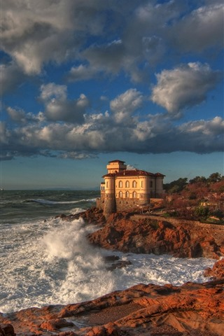 iPhone Wallpaper Italy, Boccale Castle, sea, coast, clouds, autumn