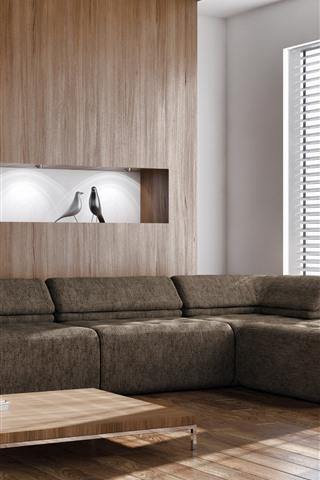 iPhone Обои Гостиная, мебель, диван, окно, световые лучи