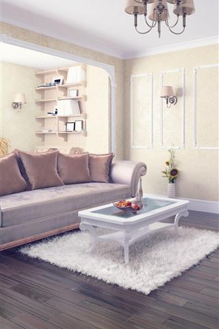 iPhone Papéis de Parede Sala de estar, sofá, mesa, travesseiro, claro