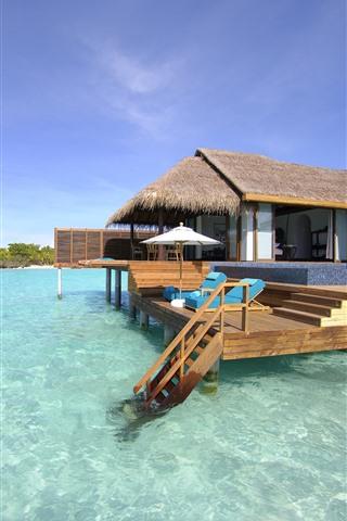 iPhone Wallpaper Maldives, bungalows, sea, tropical, summer