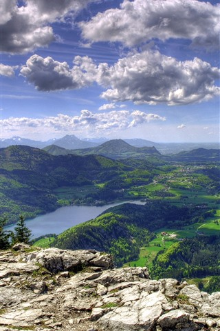 iPhone Wallpaper Mountains, top view, village, river, trees, green, clouds