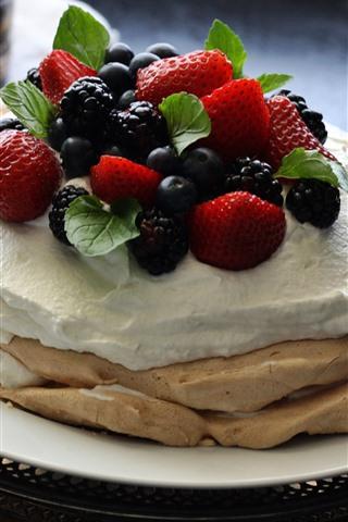 iPhone Wallpaper Pancake, cream, strawberry, blackberry, food
