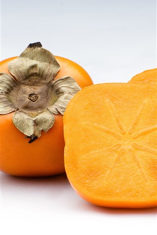 iPhone Wallpaper Persimmon, cutted fruit, white background