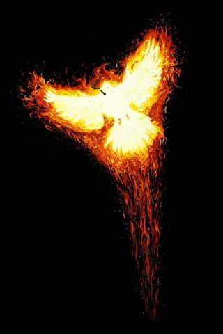 iPhone Papéis de Parede Phoenix, pássaro, fogo, fundo preto, imagem criativa