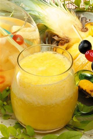 iPhone Papéis de Parede Suco de abacaxi, bebidas, copo de vidro