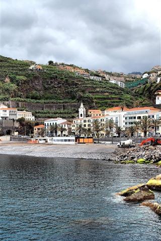 iPhone Wallpaper Portugal, sea, mountain, houses, coast