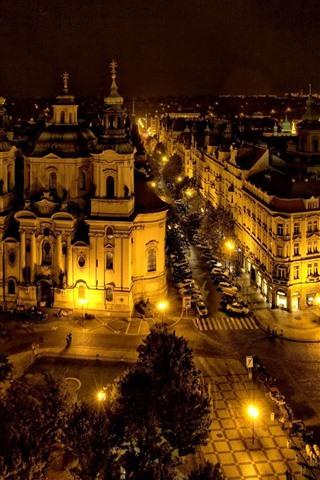 iPhone Papéis de Parede Praga, República Tcheca, cidade, noite, luzes, estrada