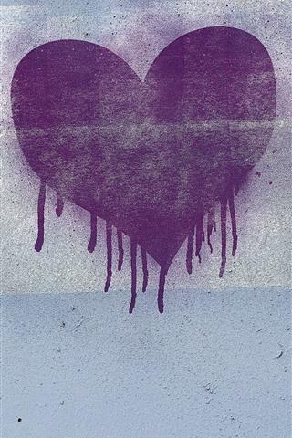 iPhone Wallpaper Purple love heart, wall, graffiti