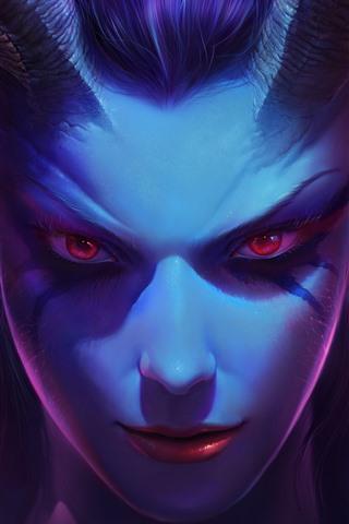 iPhone Papéis de Parede Garota de fantasia de olhos vermelhos, rosto, chifres