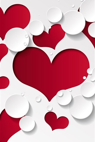 iPhone Wallpaper Red love hearts, white background, water droplets