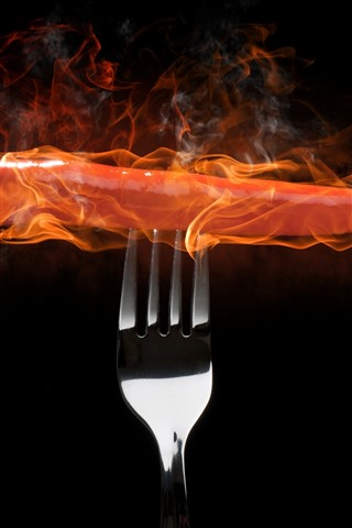 iPhone Wallpaper Red pepper, fire, fork, black background