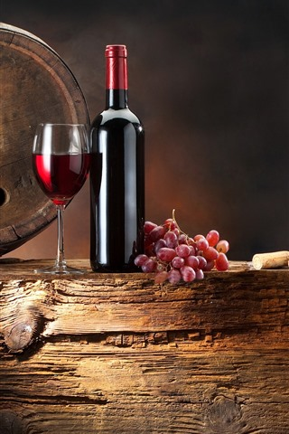 iPhone Wallpaper Red wine, grapes, barrel, glass cups, bottle