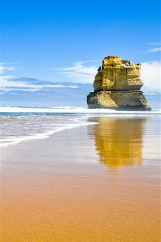 iPhone Wallpaper Rocks, sea, beach, waves, blue sky, clouds