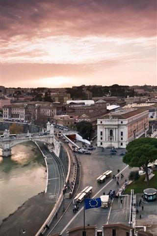 iPhone Wallpaper Rome, Italy, houses, street, bridge, river, city