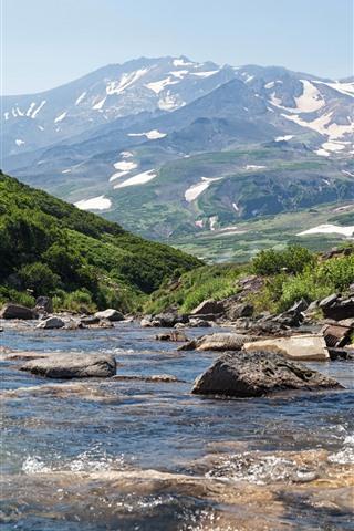 iPhone Wallpaper Russia, Kamchatka, mountains, creek, snow