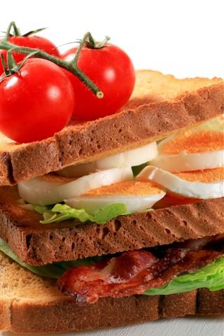 iPhone Wallpaper Sandwich, bread, egg, tomato, fast food
