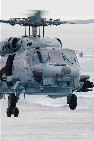 iPhone Wallpaper Seahawk helicopter, sea, ship