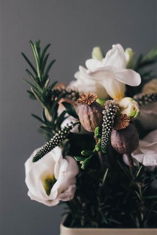 iPhone Papéis de Parede Algumas flores, buquê, vaso