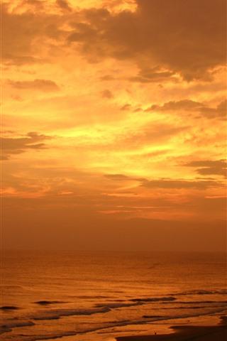 iPhone Wallpaper Sunset, sea, clouds, palm trees, beach, orange sky