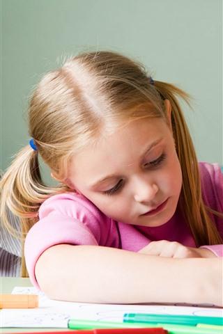 iPhone Wallpaper Teacher and little girl, study