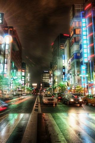 iPhone Wallpaper Tokyo, city, night, road, cars, buildings, lights, Japan