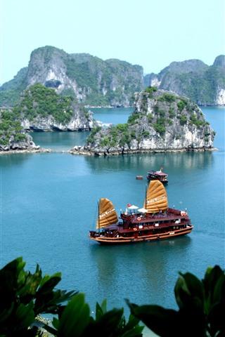 iPhone Wallpaper Tropical, blue sea, boat, island, leaves