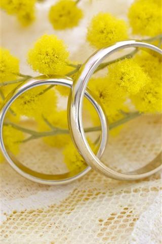 iPhone Wallpaper Wedding rings, yellow flowers