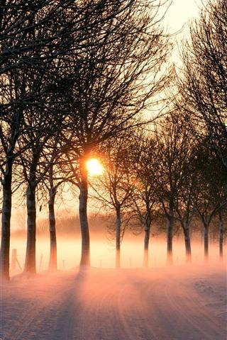 iPhone Papéis de Parede Inverno, estrada, neve, árvores, raios de sol, manhã, nevoeiro