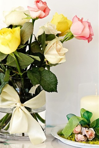 iPhone Wallpaper Yellow pink white roses, candle