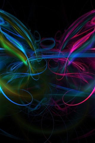 iPhone Wallpaper Abstract light lines, colorful, smoke