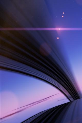 iPhone Wallpaper Abstract lines, bridge, sun, clouds, stars