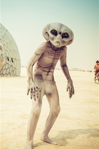 iPhone Wallpaper Alien, beach, UFO