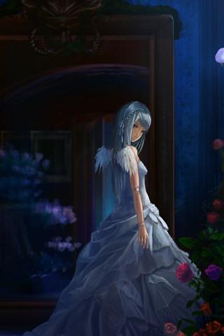 iPhoneの壁紙 アニメの女の子、夜、バラ、翼、天使