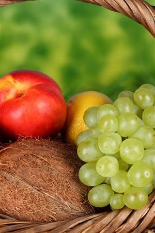 iPhone Wallpaper Basket, grape, oranges, peach, lemon