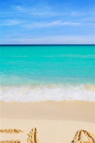 iPhone Wallpaper Beach, sea, blue, water, foam