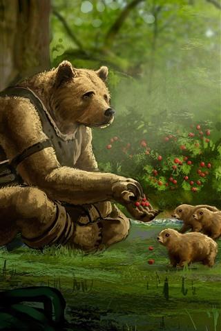 iPhone Papéis de Parede Urso, filhotes, floresta, bagas, pintura artística