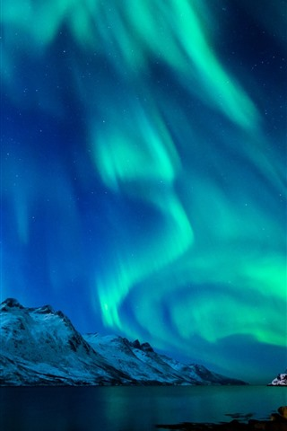 iPhone Wallpaper Beautiful northern lights, river, mountains, snow, moon, stars