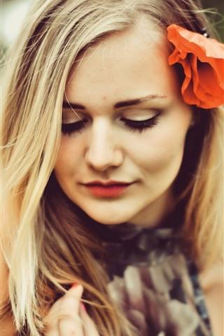 iPhone Wallpaper Blonde girl, red poppy flower