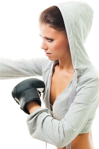 iPhoneの壁紙 ボクシング、女の子、白い背景