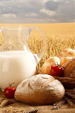 iPhone Wallpaper Bread, milk, tomatoes, wheat field
