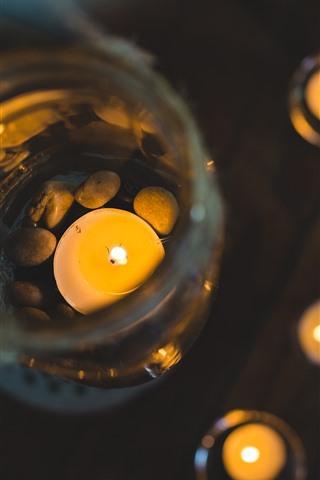 iPhone Wallpaper Candles, fire, glass bank